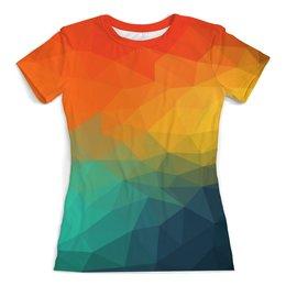 """Футболка с полной запечаткой (женская) """"Веселые цвета"""" - радуга, настроение, цвет, разноцветный, веселый"""