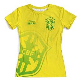"""Футболка с полной запечаткой (женская) """"Сборная Бразилии"""" - футбол, бразилия, сборная бразилии, футбол 2018, футбольные команды"""