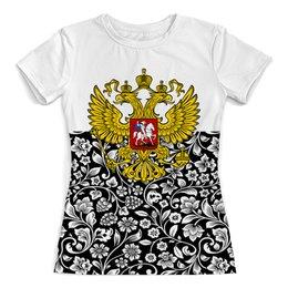 """Футболка с полной запечаткой (женская) """"Цветы и герб"""" - цветы, россия, герб, орел, хохлома"""