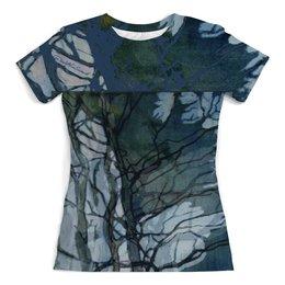 """Футболка с полной запечаткой (женская) """"призрачные ветви"""" - деревья, живопись, туман, современное искусство, экспрессионизм"""