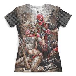 """Футболка с полной запечаткой (женская) """"Harley Quinn Vs Deadpool Design"""" - юмор, харли квинн, дэдпул, dc комиксы, марвел комиксы"""