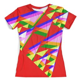 """Футболка с полной запечаткой (женская) """"Colorfull triangle"""" - ярко, треугольник, красочно, сочно"""