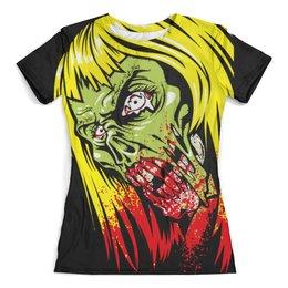 """Футболка с полной запечаткой (женская) """"Девушка зомби"""" - зомби, череп, zombie, девушка, кровь"""