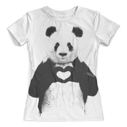 """Футболка с полной запечаткой (женская) """"Панда"""" - panda, панда, сердце"""