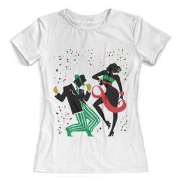 """Футболка с полной запечаткой (женская) """"Танцы. Ватуси"""" - рисунок, танцы, графика, минимализм, ватуси"""