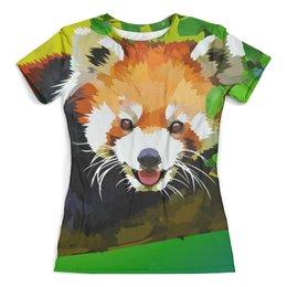 """Футболка с полной запечаткой (женская) """"Красная панда"""" - животные, рисунок, графика, красная панда, попарт"""