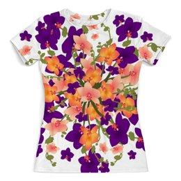 """Футболка с полной запечаткой (женская) """"Цветы. Орхидеи. Цветочная фантазия."""" - цветы, букет, орхидея, цветочный узор"""