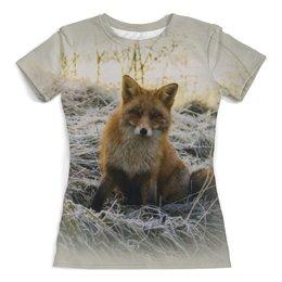 """Футболка с полной запечаткой (женская) """"Лисица"""" - животные, природа, лиса, лисица, лисичка"""