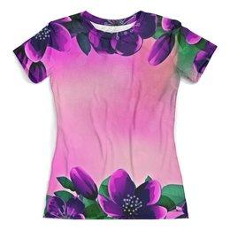 """Футболка с полной запечаткой (женская) """"Фиолетовые цветы"""" - лето, цветы, весна, цветные, цветочки"""