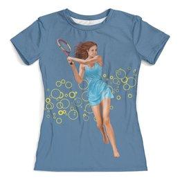"""Футболка с полной запечаткой (женская) """"Девушка с теннисной ракеткой"""" - девушка, спорт, рисунок, теннис, ракетка"""