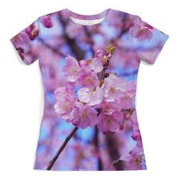 """Футболка с полной запечаткой (женская) """"Ветка с цветами"""" - цветы, вишня, дерево, цветы вишни"""