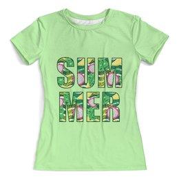 """Футболка с полной запечаткой (женская) """"Summer"""" - лето, фрукты, надпись, summer, зелень"""