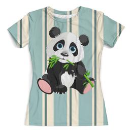 """Футболка с полной запечаткой (женская) """"Маленькая панда"""" - няшка"""
