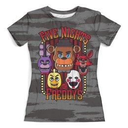 """Футболка с полной запечаткой (женская) """"Five Nights at Freddy's"""" - компьютерные игры, хеллоуин, пять ночей у фредди, fnaf"""