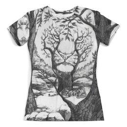 """Футболка с полной запечаткой (женская) """"Tiger illusions"""" - иллюзии, деревья, природа, абстракция, тигр"""
