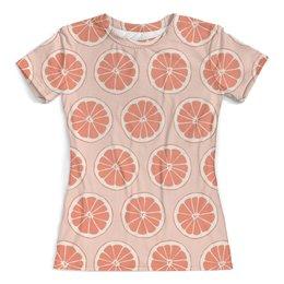 """Футболка с полной запечаткой (женская) """"Апельсины"""" - фрукты, апельсин, лето, узор, ягоды"""