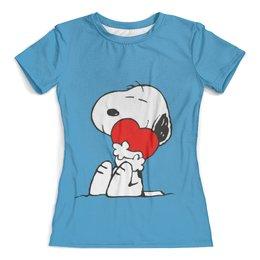 """Футболка с полной запечаткой (женская) """"Пес Снупи"""" - персонаж, снупи, мульт, пёс"""