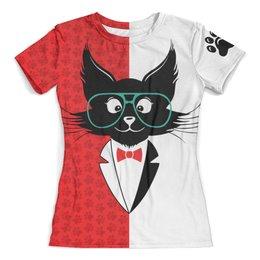 """Футболка с полной запечаткой (женская) """"кот стиляга"""" - кот, стильный, модный, ученый"""