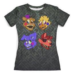 """Футболка с полной запечаткой (женская) """"Five Nights at Freddy's"""" - компьютерные игры, игрушки, хеллоуин, пять ночей у фредди, fnaf"""