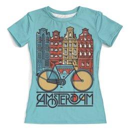 """Футболка с полной запечаткой (женская) """"Амстердам"""" - велосипед, нидерланды, голландия"""