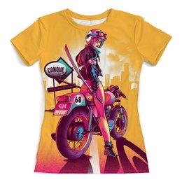 """Футболка с полной запечаткой (женская) """"Road Killer"""" - девушка, мото, мотоцикл, киллер, дорожный киллер"""