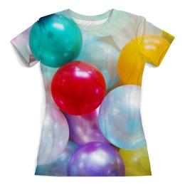 """Футболка с полной запечаткой (женская) """"Шарики"""" - праздник, день рождения, абстракция, воздушные шары, текстура"""