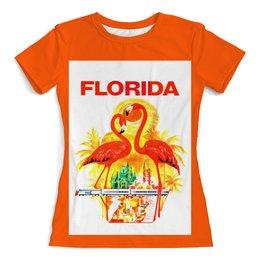 """Футболка с полной запечаткой (женская) """"Флорида"""" - ретро, америка, винтаж, постер"""