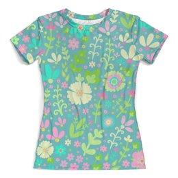 """Футболка с полной запечаткой (женская) """"Цветочная полянка"""" - цветы, узор, листья, весна, цветочки"""