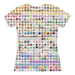 """Футболка с полной запечаткой (женская) """"Emoji смайлики"""" - смайлик, символ, emoji"""