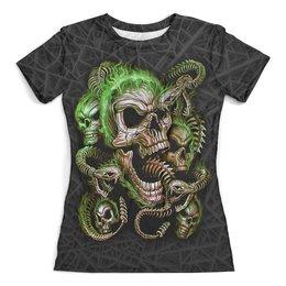"""Футболка с полной запечаткой (женская) """"Skulls and Snakes (Halloween)"""" - хэллоуин, черепа, ужастик, смерть, змеи"""