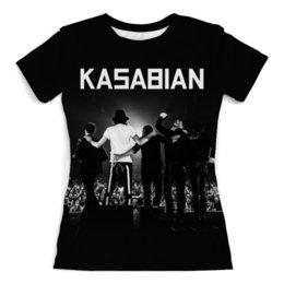 """Футболка с полной запечаткой (женская) """"Kasabian"""" - музыка, kasabian, касабиан, рок группы, касейбиан"""