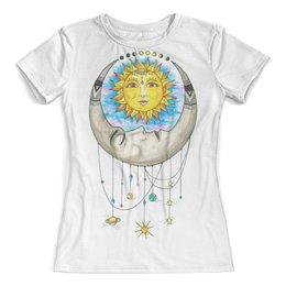 """Футболка с полной запечаткой (женская) """"Луна и Солнце"""" - солнце, луна, sun, moon"""