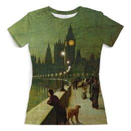 """Футболка с полной запечаткой (женская) """"Вечерний Лондон"""" - арт, страны, город, лондон, англия"""