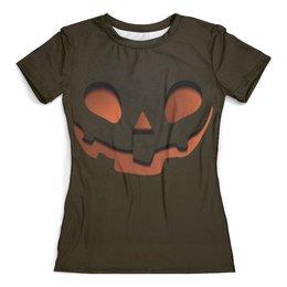 """Футболка с полной запечаткой (женская) """"Тыква (Happy Halloween)"""" - happy halloween, тыква, привидение"""