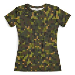 """Футболка с полной запечаткой (женская) """"pixel clock"""" - 23 февраля, армия, камуфляж, пиксели, силовые структуры"""