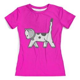 """Футболка с полной запечаткой (женская) """"Милый котёнок"""" - котёнок, кот, кошка, cat, животное"""
