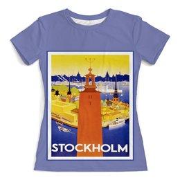 """Футболка с полной запечаткой (женская) """"Стокгольм"""" - ретро, винтаж, постер, швеция"""