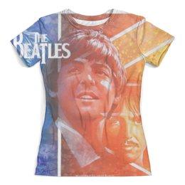 """Футболка с полной запечаткой (женская) """"The Beatles """" - джон леннон, пол маккартни, джордж харрисон, the beatles"""