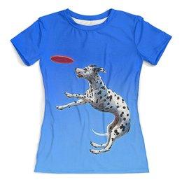 """Футболка с полной запечаткой (женская) """"Моя собака"""" - собака, домашние животные, женщине, далматинец, собачникам"""