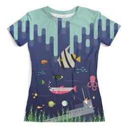 """Футболка с полной запечаткой (женская) """"Oceanic Design"""" - рыбы, природа, океан, море, вода"""