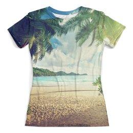 """Футболка с полной запечаткой (женская) """"Пляж с пальмами"""" - солнце, море, пальмы, футболка с пальмами, футболка с пляжем"""