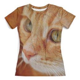 """Футболка с полной запечаткой (женская) """"Рыжий кот"""" - кот, котенок, кошка, животные, мордочка"""