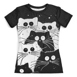 """Футболка с полной запечаткой (женская) """"Белый кот черная кошка"""" - много кошек, мимимишка"""