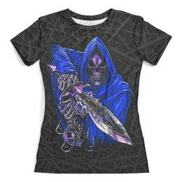 """Футболка с полной запечаткой (женская) """"Death Skull (Halloween)"""" - хэллоуин, черепа, ужастик, смерть, с мечем"""