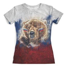 """Футболка с полной запечаткой (женская) """"Русский Медведь"""" - футбол, медведь, россия, флаг, триколор"""