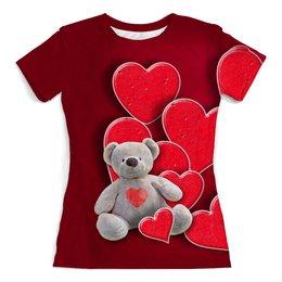 """Футболка с полной запечаткой (женская) """"Мишка"""" - сердце, любовь, медведь, мишка, медвеженок"""