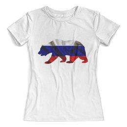 """Футболка с полной запечаткой (женская) """"Русский Медведь"""" - bear, медведь, русский, флаг, russian"""