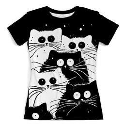 """Футболка с полной запечаткой (женская) """"Белый кот черная кошка"""" - мимимишка, много кошек"""