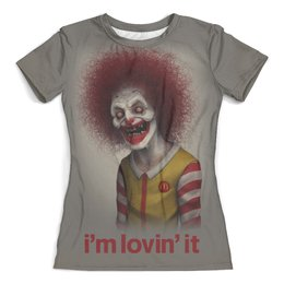 """Футболка с полной запечаткой (женская) """"Макдональдс - Я люблю это"""" - череп, макдональдс, клоун, mcdonalds, злой клоун"""