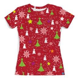"""Футболка с полной запечаткой (женская) """"Happy New Year (Счастливый Новый Год)"""" - happy new year, подарок, дед мороз, елка, merry cristmas"""